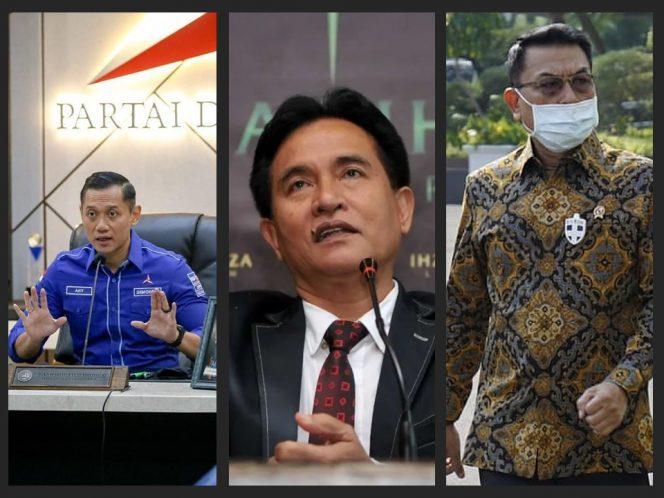 (Kiri ke kanan) Agus Harimurti Yudhoyono, Yusril Ihza Mahendra, Moeldoko (Instagram)