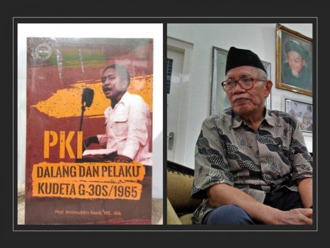 Prof. Aminuddin Kasdi (kanan) bersama bukunya (kiri).