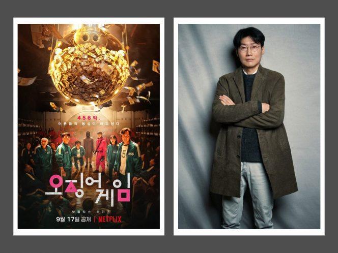 Hwang Dong-hyuk, sutradara serial Squid Game dan poster serial Squid Game yang tayang di Netflix.