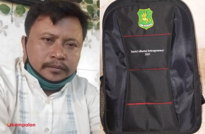 Sahrul Gunawan dari Sumenep Independen dan tas peserta pelatihan Santri Millenial Entrepreneur (kempalan)
