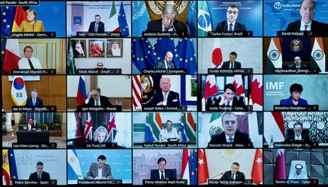 Pertemuan G20 yang dilakukan secara virtual-Aljazeera