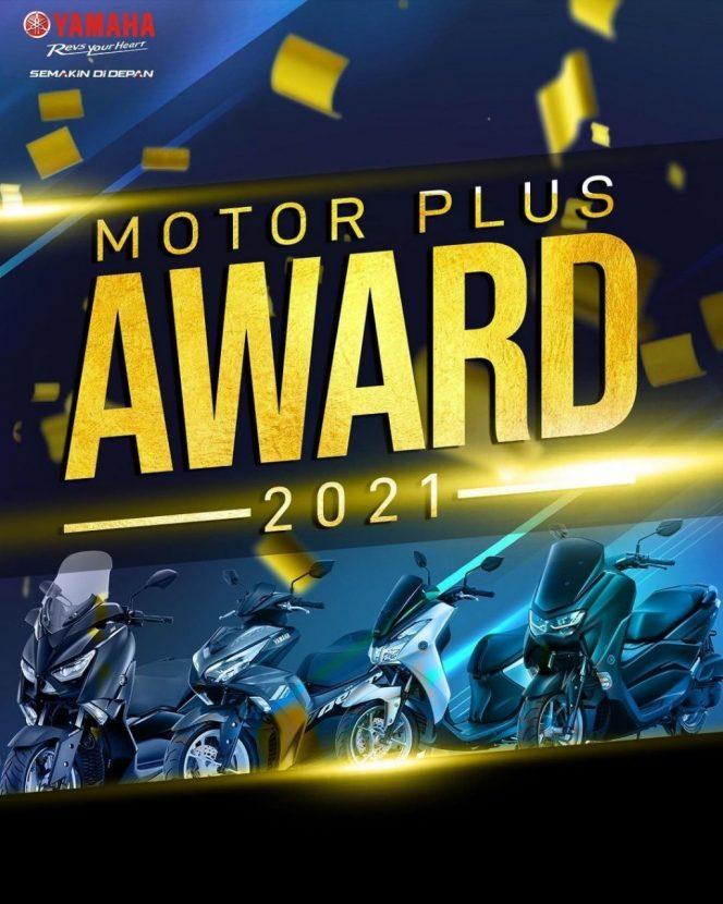 Jajaran motor Yamaha kali ini mendapatkan penghargaan dalam ajang bergengsi Motor Plus Award 2021. Motor pabrikan Yamaha kembali memborong sebanyak sebelas penghargaan dari berbagai kategori. Mulai dari kategori motor sport, bebek hingga kategori motor matic.